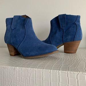 Blue Suede Cowboy Ankle Boots